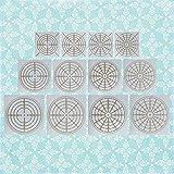 12 Pcs Mandala Bullseye Dot Stencil Plate, Reusable Mandala Drawing Stencil Template 4/8/12/16 Segment Painting Stencils for DIY Plastic,Paper, Fabric, Metal, Wood, Stone,Walls Art,Handmade Gifts