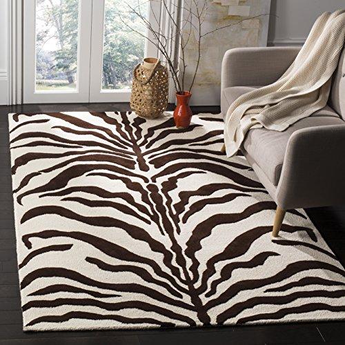 Safavieh Zebra-gestreifter Teppich, CAM709, Handgemacht Wolle und Viskose, Elfenbein/Braun, 182 X 274 cm