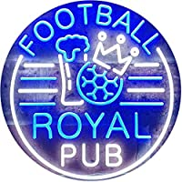 Football Royal Pub Bar Club Dual Color LED看板 ネオンプレート サイン 標識 白色 + 青色 400 x 300mm st6s43-i3326-wb