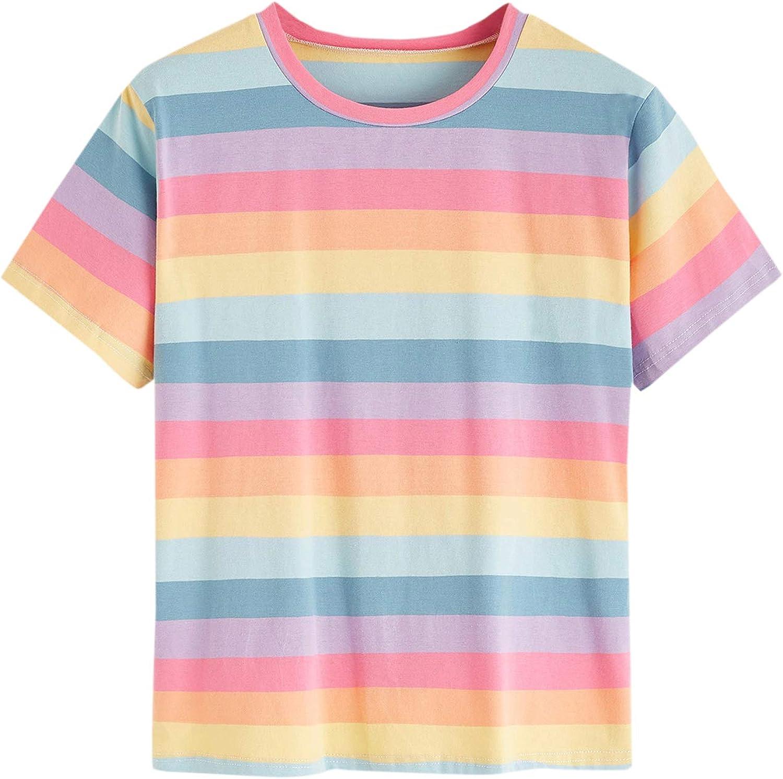 SweatyRocks Women's Casual Short Sleeve Round Neck Rainbow Striped Tee Shirt Top