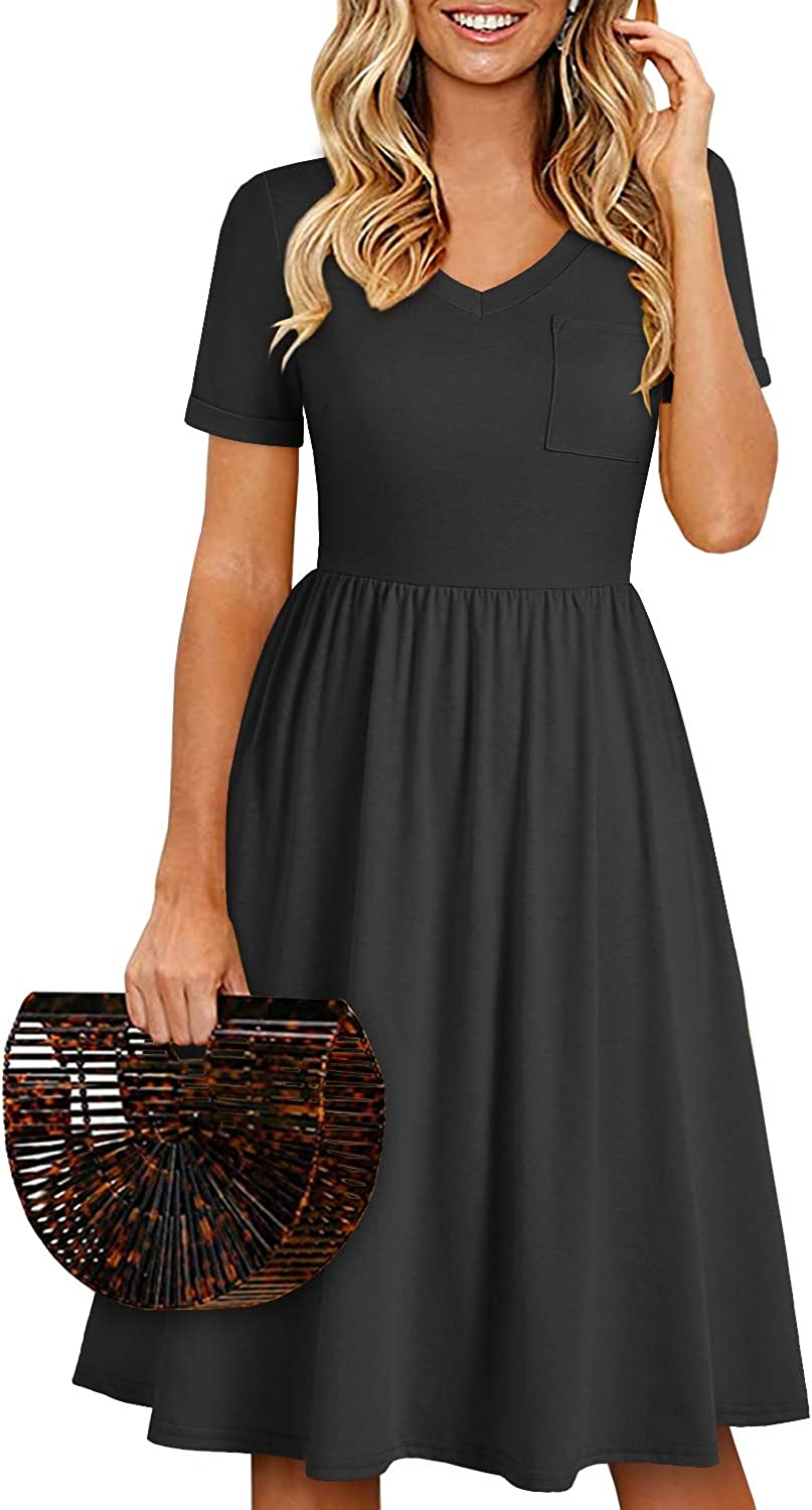 YATHON Casual Dresses with Pockets for Women Cotton V Neck Stretchy A-Line Summer Dress Sleeves