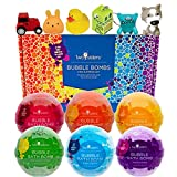 Kids Bubble Bath Bombs with Surprise Toys Inside for Boys and Girls by Two Sisters. 6 Large 99% Natural Fizzies in Gift Box. Releases Color, Scent, and Bubbles
