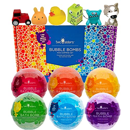 Bubble Bath Bombs for Kids with Surprise Toys Inside for Boys and Girls by Two Sisters. 6 Large 99% Natural Fizzies in Gift Box. Releases Color, Scent, and Bubbles (Kids)