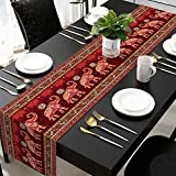 AQQA Indian Elephant Mandala Dining Coffee Table Runner for Wedding Farmhouse Home Kitchen Decor,Bohemian Brown & Gold Color Tablecloth 14x72 Inch