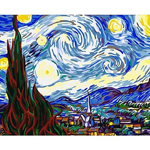 ELGDX Image sans Cadre Célèbre Ciel Bricolage Peinture par Numéros Wall Art Picture Painting Amp; Calligraphie Peinture Acrylique sur Toile