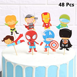 Finduat 48 Pieces Cartoon Superhero Avengers Cupcake Topper for Kids Birthday Party Cake Decoration Supplies