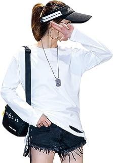 Jocolate(ジョコレート) 長袖 カットソー レディース トップス シンプル ロング Tシャツ ロンT ストレッチ 無地 白 ホワイト ダメージ