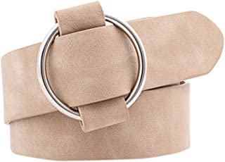 COODIO Women Fashion Casual Belts Simple Round Buckle Leather Waistband for Jeans Dress for Fashion Jewelry