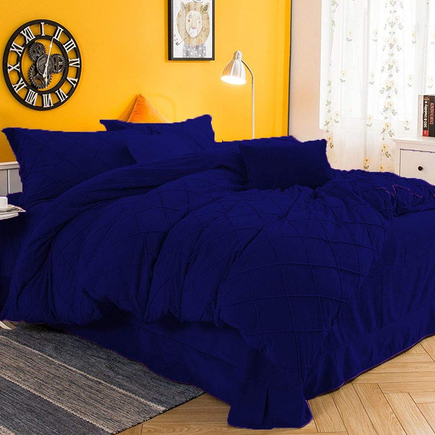 3pc Pintuck Royal bluee color Velvet Duvet Cover Set Available Twin XL