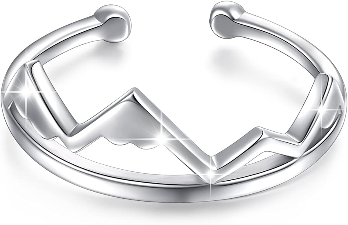 925 Sterling Silver Heart Snow Ring In a popularity Necklace Mountain Range Popular brand in the world Caps