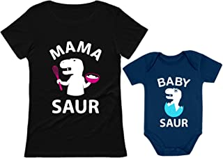 Sponsored Ad - Mama Saur T-Rex Mom and Baby Saur Matching Outfit Mommy and Me Matching Set