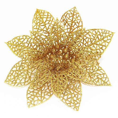 Sayla Weihnachten Dekoration 10pcs Weihnachtsbaum-künstliche Blumenverzierung Weihnachtsdekor-Funkeln-Geburtstagsfeier (Gold)