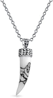 Protection Tooth Amulet Cornicello Italian Horn Pendant Necklace For Women For Men 925 Sterling Silver More Gemstones