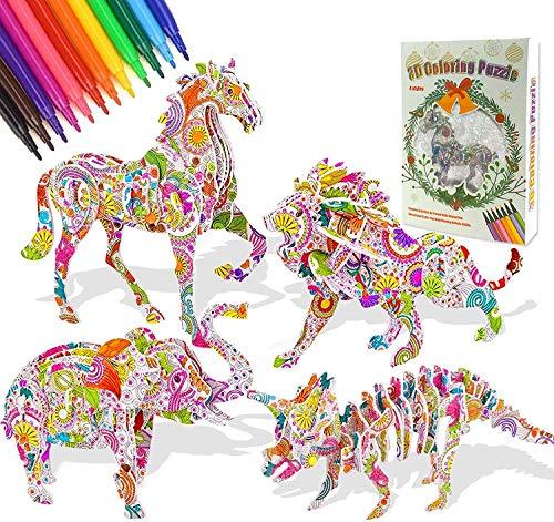 3D Farbpuzzleset für Kinder, DIY Kunsthandwerk Malen 3D Puzzle Kit Pädagogisches Malen Basteln Kit Kreatives Spielzeug Geschenke für Mädchen Jungen - 4 Tiere mit 12 Markierungsstiften