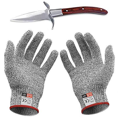 Oyster messenset, snijwerende handschoenen en hoge kwaliteit roestvrij staal lengte houten handvat Clam mes professionele keuken gereedschap