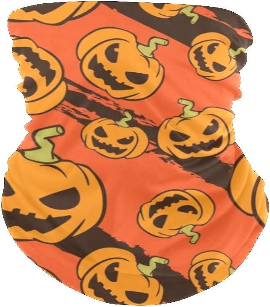 Balaclava Face Mask Neck Gaiter Halloween Pumpkin Bandanas for Out Doors, Sport, Festival