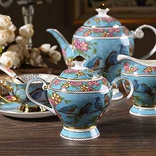 Ndht Bone Chinaティーカップ/コーヒーカップ& Saucersセットwith spoons-6.7oz、ホーム、レストラン、表示&休日のギフトまたは、ブルーの鳥 Milk Jug and Sugar Pot NDHT180609106