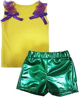 Petitebella Girls' Plain Cotton Shirt Green Bling Short Set