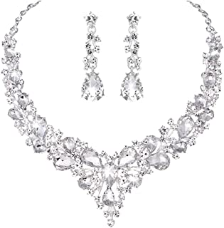 Bridal Austrian Crystal Necklace and Earrings Jewelry Set...