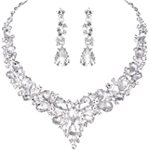 23cdffce3bcc Youfir Bridal Austrian Crystal Necklace and Earrings Jewelry Set Gifts fit  with Wedding Dress