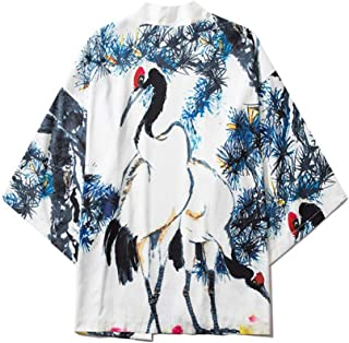 Japanese Style Robe Fairy Crane Series Seven-point Sleeve Loose Hanfu Men And Women With The Same Cape Shirt Hyococ (Color : 1, Size : XXL)