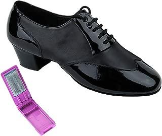Very Fine Ballroom Latin Tango Salsa Dance Shoes for Men CM100101 1.5 inch Heel + Foldable Brush Bundle