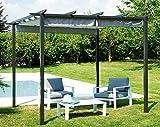 Mobili giardino GAZ503 GAZEBO ferro PERGOLA CON TETTO SCORREVOLE 3 x 3 mt.