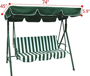 """Boshen Outdoor Swing Replacement Canopy Fit 74"""" x 45"""" Frame Waterproof UV Blocking Swing Top Cover, 300D 160/gsm Poly"""