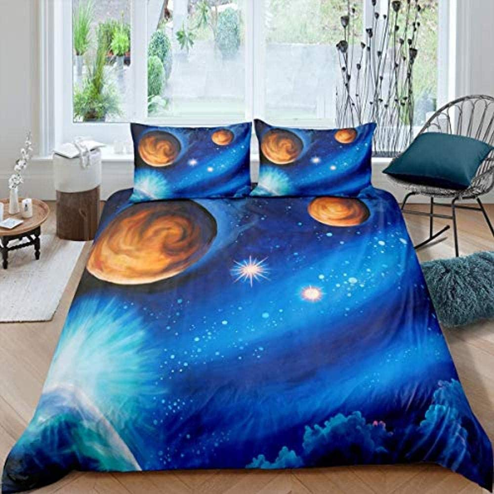 XUESDJMN Cash special price Bedding Set Ranking TOP19 Full 80X90 Inch Galaxy Blue Outer Creative