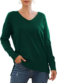 Jouica Women's Casual Sweatshirt V Neck Batwing Sleeve Knit Top Loose Pullover Sweater