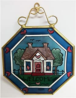 Joan Baker Designs Stained Glass Welcome Cottage Hanging Window Art