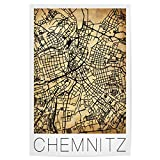artboxONE Poster 30x20 cm Städte Retro map of Chemnitz
