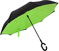 Techcell Double Layer Inverted Umbrella Cars Reverse Umbrella,Windproof UV Protection Big Straight Umbrella for Car Rain Outdoor with C-Shaped Handle Travel Umbrella by