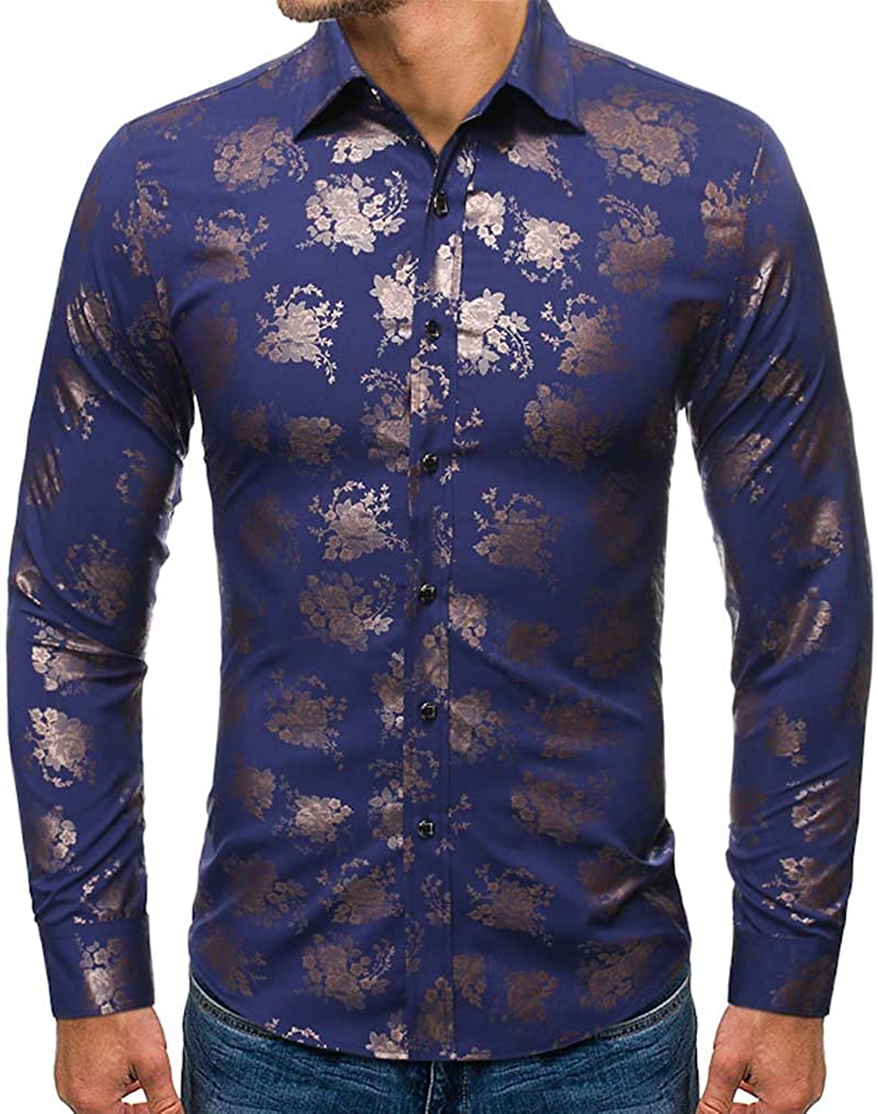 YD-zx Men's Spring Fashion Floral Printed Business Lapel Dress Shirt Slim Fit Casual Shirt Long Sleeve Button Down Shirts