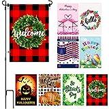 Juego de Bandera de Jardín de Temporada Vacaciones, 8 Banderas de Halloween Navidad de Doble Cara Bandera de Fiesta Decorativa con Estante de Bandera de Jardín y Tapón, 12 x 18 Pulgadas