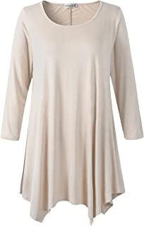 0753226e760 LARACE Women Plus Size 3 4 Sleeve Tunic Tops Loose Basic Shirt