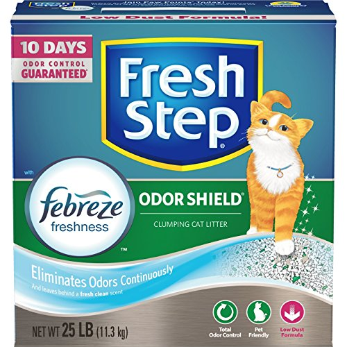Fresh Step Odor Shield Scented Litter with the Power of Febreze, Clumping Cat Litter, 25 Pounds