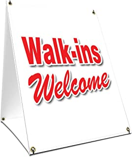 A-Frame Sidewalk Walk-ins Welcome Sign with Graphics On Each Side | 18