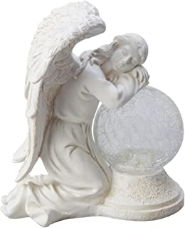 Moonrays 92367 Serene Angel Garden Statue with Crackle Globe and Solar Powered White LED, Stone