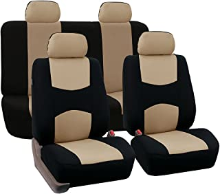 FH Group Universal Fit Full Set Flat Cloth Fabric Car Seat Cover (Beige/Black)..