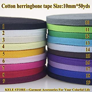DalaB -100% Cotton Tape Herringbone/Twill Cotton Tape Size 10mm50yds, 1cm45meter, Sewing Material Garment Accessories - (Color: 8 red)