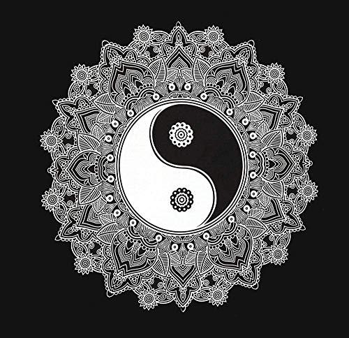 Tapiz de pared de Ying Yang 153 x 130 cm, tela india, mandala, decoración de pared, psicodélica, oriental, negro, blanco, bohemio, estilo bohemio, estilo bohemio, manta decorativa, en embalaje