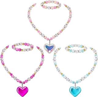گردنبند و دستبند مخصوص کودکان PinkSheep ، کودکان و نوجوانان ، 3 ست ، گردنبند جواهرات دختران کوچک و دستبند با آویز قلب ، پیراستن بازی Pretend Play Party مورد علاقه