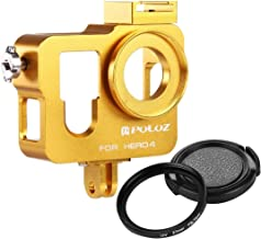 CHENG Housing Shell CNC Aluminum Alloy Protective Cage with 37mm Lens Filter Lens Cap for GoPro HERO4 Black   Color Gold