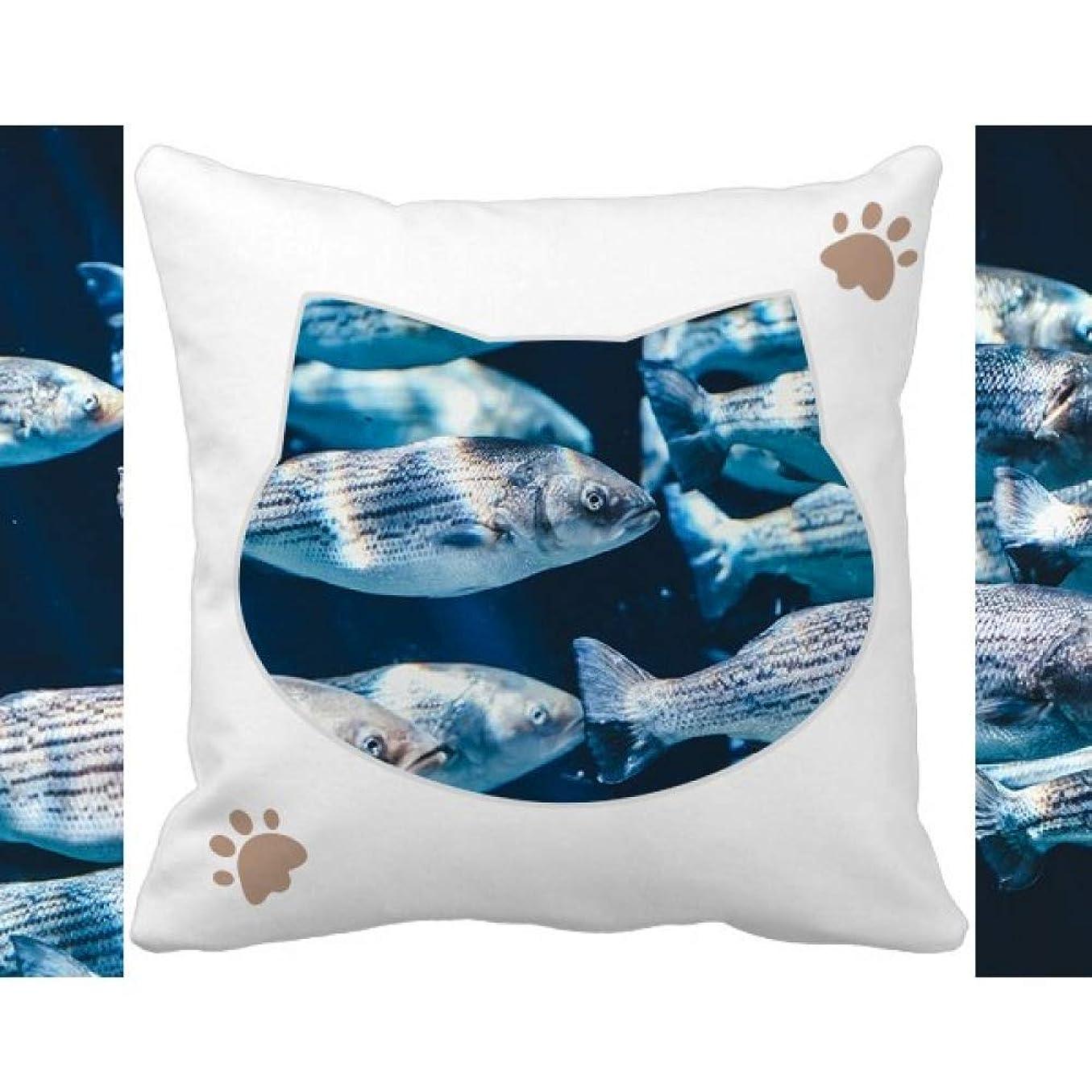 社員材料プラス動物の海洋生物の熱帯魚 枕カバーを放り投げる猫広場 50cm x 50cm