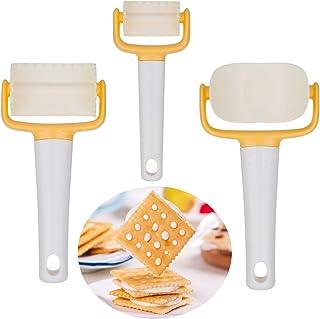 Gwhole 3 Pcs Moules à Biscuit en Plastique, Découpoir Emporte-pièces Ronds et Carrés, DIY Rouleau à Biscuits