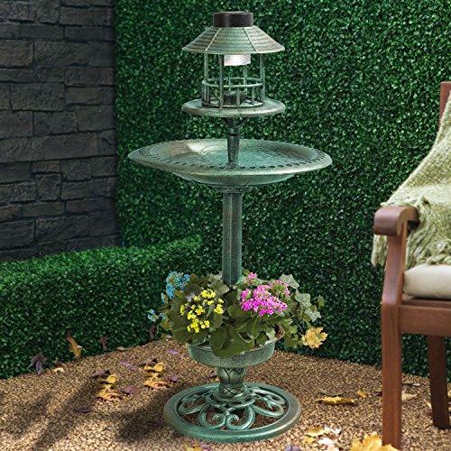 Verde Cobre Efecto Solar Baño Para Pájaros & Mesa Pájaro Hotel