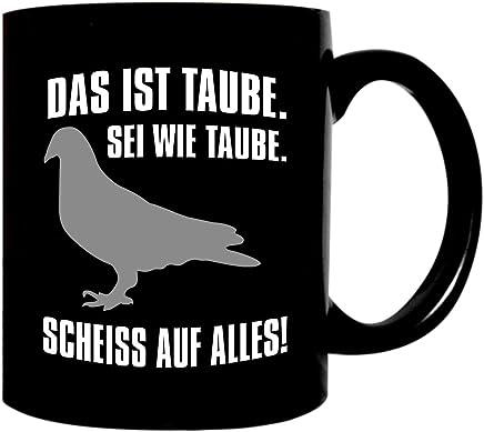 Preisvergleich für Kaffeetasse schwarz 300ml große Tasse bedruckt mit Spruch Taube