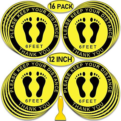 5 Pack Social Distancig Floor Decals Safety Floor Sign Marker Stand Here 6 Feet Distance Anti-Slip Sticker Round 11.8 Inches