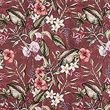 Fabulous Fabrics Halbpanama Bordeauxrot, Pflanze, 140cm